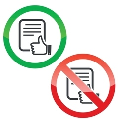 Like document permission signs set vector