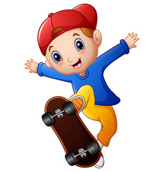 little boy cartoon playing skateboard vector image
