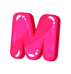 M magenta glossy bright english letter kids font vector