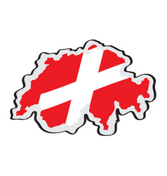 map of switzerland with its flag vector image