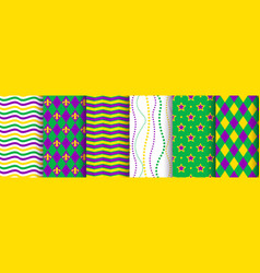 mardi gras background seamless pattern set vector image