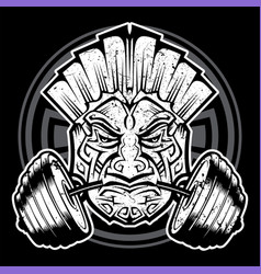 Mayan icon barbell gym black vector
