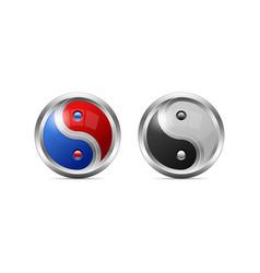 Metallic yin yang symbol design as 3d shaped vector