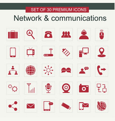 Network and communication set of icons red vector