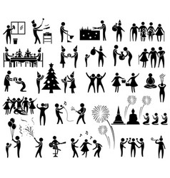 new year activity icon set vector image