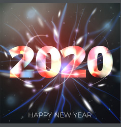new year with bright bokeh vector image