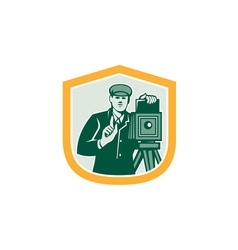 Photographer Shooting Vintage Camera Shield Retro vector image vector image