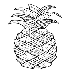 Pineapple whimsical line art Coloring book for vector image