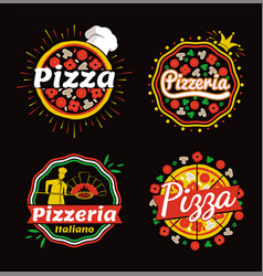 Pizza and pizzeria logos set vector