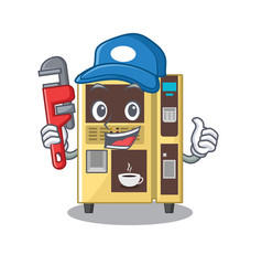 Plumber coffee vending machine in cartoon vector