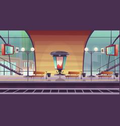 Railway station empty railroad platform for train vector