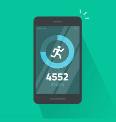 Run or fitness steps tracker app on mobile phone vector
