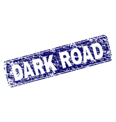 Scratched dark road framed rounded rectangle stamp vector