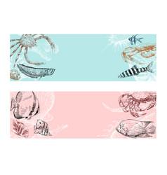 seafood fish corals and seashells banner vector image