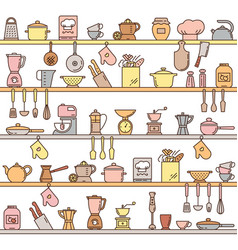 Seamless pattern with kitchen shelves full of vector