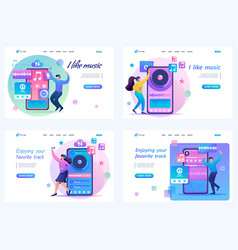 set 2d teenagers listen and dance to their music vector image