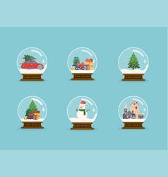 set merry christmas glass balls with christmas vector image