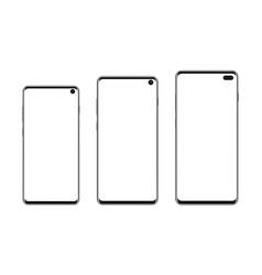 Set modern frameless smartphones isolated vector