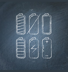 set of battery icon chalkboard sketches vector image