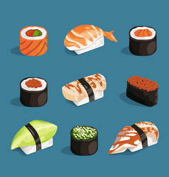 Set of classical asian food white rice sushi vector