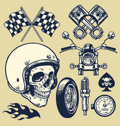 set of hand made of vintage motorcycle element vector image