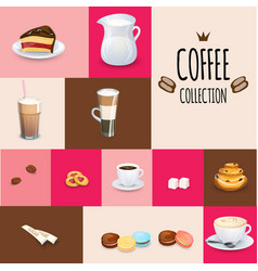 Set of tea drinks sweets and bakery products vector