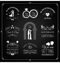 Set of wedding invitation template vintage design vector image