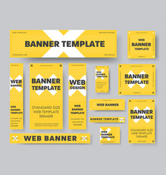 set yellow web banner templates with white vector image