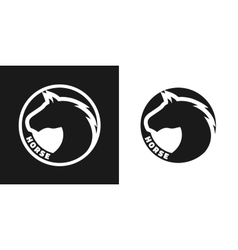 Silhouette of an horse monochrome logo vector image