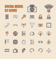 social media thin line 64x64 pixel 32 icon set vector image