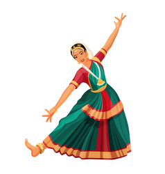 Solo dance performed by girl with hindi vector