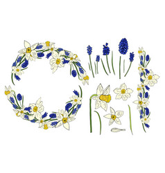 spring collection with daffodil flowers and mouse vector image