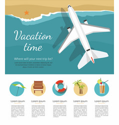 summer vacation airplane flies over a sea vector image