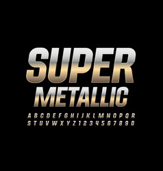 Super metallic alphabet letters and numbers vector