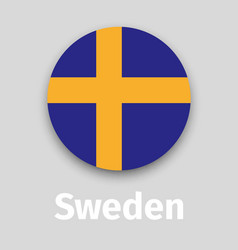 sweden flag round icon with shadow vector image