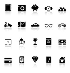 The useful collection icons with reflect on white vector image