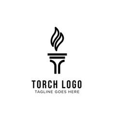torch logo design inspiration vector image