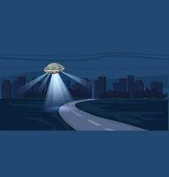 Ufo flying over night city metropolis houses vector