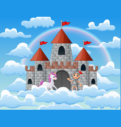 unicorns and knights in the palace on the clouds vector image