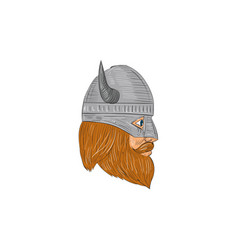viking warrior head right side view drawing vector image