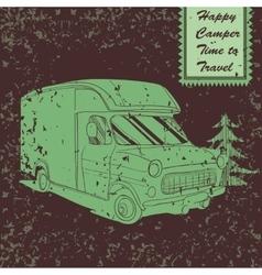 Vintage poster with trailer vehicles camper vans vector