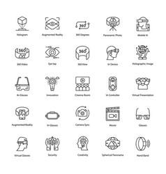 Virtual reality line icons set vector