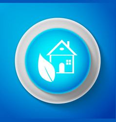 white eco house icon isolated on blue background vector image