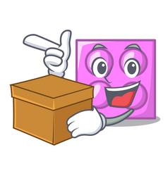 With box toy brick character cartoon vector