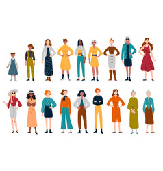 Women many female characters different ages vector