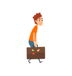Young man carrying a heavy suitcase people vector