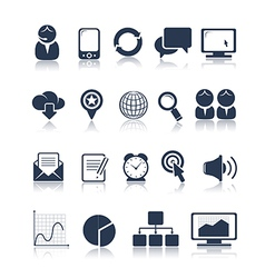 Business and media icons vector image vector image