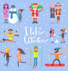 i like winter poster with sportive happy people vector image