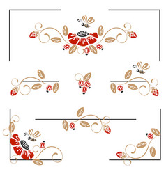 pages decoration with poppies and bees vector image
