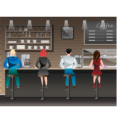 people set sitting in restaurant cafe or bar vector image vector image